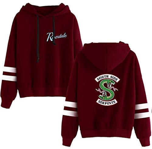 EMILYLE Damen Riverdale Sweatshirts Southside Serpents Digital Druck Casual Fashion Jumper (XL, Wein)