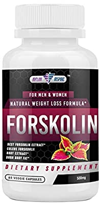 Forskolin Extract - 500mg - Promotes Weight Loss for Men and Women - Diet Pills - Burn Body Fat - Appetite Suppressant, Carb Blocker and Metabolism Booster - 60 Veggie Capsules