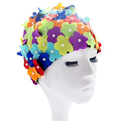 Gububi Gorro de baño para Mujeres y Hombres, Mujeres Adultas Gorro de baño de Color Estéreo Flor de Perla SPA Gorro de baño Deportes acuáticos al Aire Libre Vintage Hat