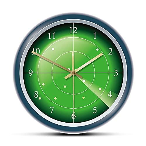 CVG Military Green Radar Designer Reloj de Pared Hud Pantalla con Objetivo Arte de Pared Escaneo de Aviones Tráfico aéreo Reloj de Pared Decorativo Regalos para Hombres