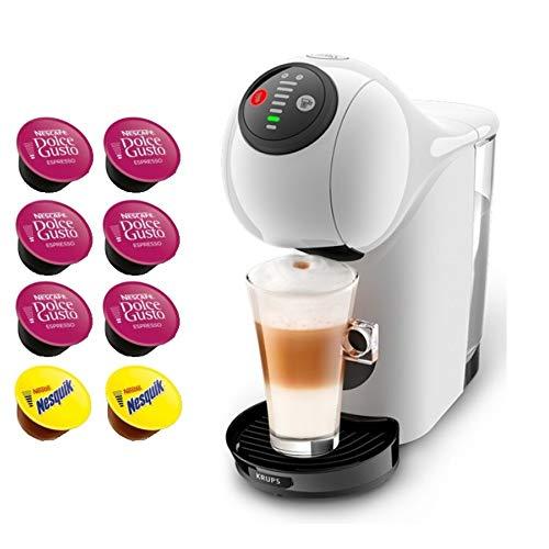 KRUPS Cafetière Dolce Gusto GENIO S Automatique • Machine à café Expresso et Autres Boissons chaudes et froides + CADEAU 8 Capsules (YY4446FD - BLANC)