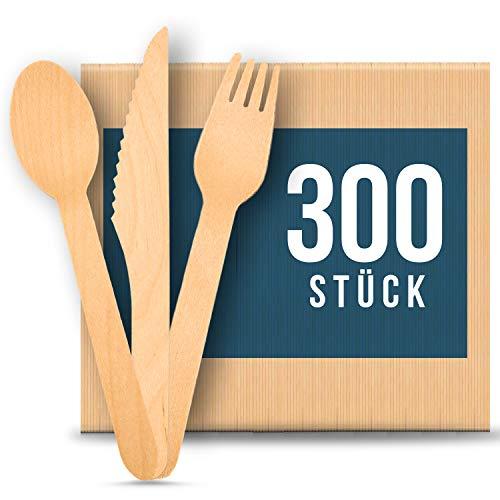 Depato Einwegbesteck 300 Stücke Holzbesteck Grillen, Camping, Picknick, Umweltfreundlich, Holz Gabel, Holz Löffel, Holz Messer