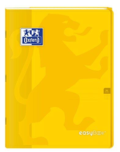 Oxford EasyBook Notizbuch, A4, 96 Seiten, 90 g, große Karos 24 x 32 gelb