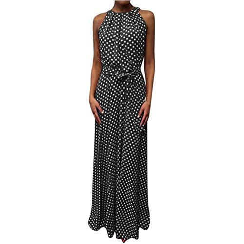 LOPILY Damen Kleid Gepunktes Langes Kleid Neckholder Wickelkleid Frauen Dot Printed Kleid für Freizeit Stilvolles Satin Partykleid Tunika...