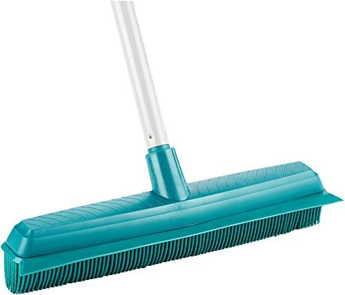 Leifheit Balai Supra, balai brosse avec poils en caoutchouc naturel pour un nettoyage hygiénique et efficace, balai sol avec manche télescopique 140 cm