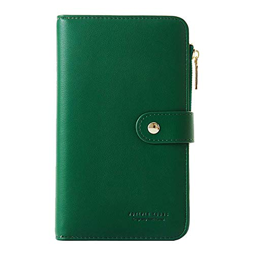 Ladies Wallet Purses Large,Phone Purse Case,Coopay Premium Soft Leather Functional Great Capacity Clutch Bag Zipper Coins Pouches Card Holder for Samsung Galaxy iPhone LG Huawei Sony - Green