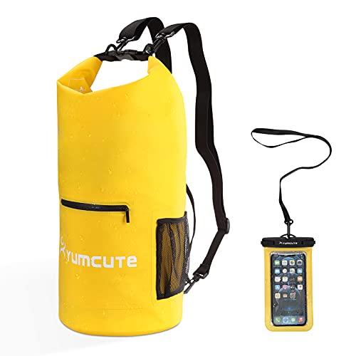 Yumcute Bolsas Impermeables, 20L Bolsa Estanca Impermeable Set de Mochila Estanca con Funda de Móvil Bolsa Seca para Playa y Deportes al Aire Kayak Senderismo Esquí Pesca Escalada Camping (Amarillo)