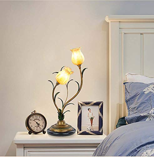 DKEE Lámpara de mesa dormitorio cama creativa cálida sala de estudio faros de jardín flores románticas amarillo granada pantalla doble cabeza 29 x 56 cm