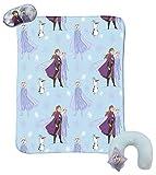 Jay Franco Disney Frozen 2-3 Piece Plush Kids Travel Set with Neck Pillow, Blanket & Eye Mask - Featuring Elsa, Anna, Olaf (Official Disney Prodcut)
