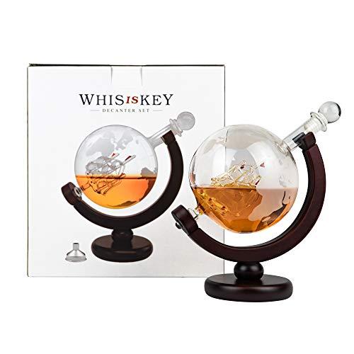 Whisiskey® Whiskey Karaffe - Globus - Whisky Karaffe Set - 900 ml - Geschenk für Männer und Frauen - Inkl. 9 Whisky-Steine und Schenktülle - 8