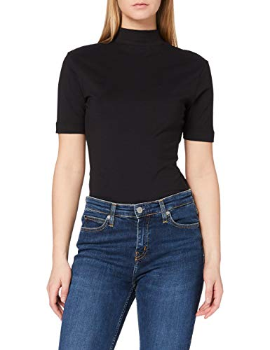 Calvin Klein Jeans Damen Micro Branding Stretch Mock Neck T-Shirt, Ck Schwarz, M