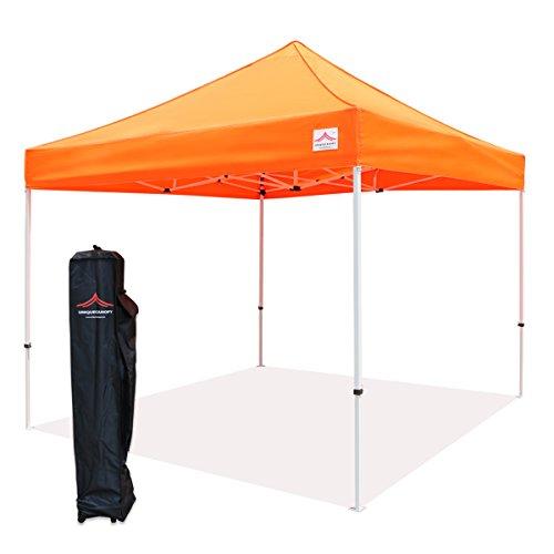 UNIQUECANOPY 10'x10' Ez Pop Up Canopy Tent Commercial Instant Shelter, with Heavy Duty Roller Bag, 10x10 FT Orange