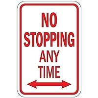 警告標識いつでも止まらないWDblArrow道路標識ビジネス標識12X16インチアルミニウム金属錫標識