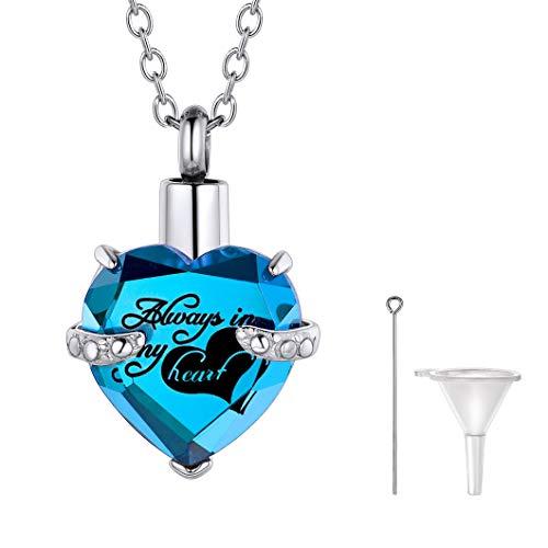 Richsteel Corazón Piedra Zafiro Personalizable Colgantes para Cenizas Guardapelo Perfume Relicario Urna de cremación Acero Inoxidable Collar para Mujer Hombre Gratis Caja de Regalo