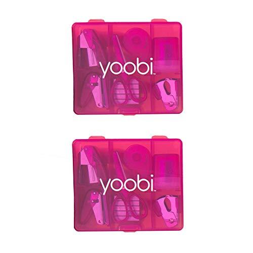 Yoobi Mini Supply Kit for Kids   Pencil Sharpener, Scissors, Stapler, Staple Remover, Tape & More   Home or School   Pink   Pack of 2