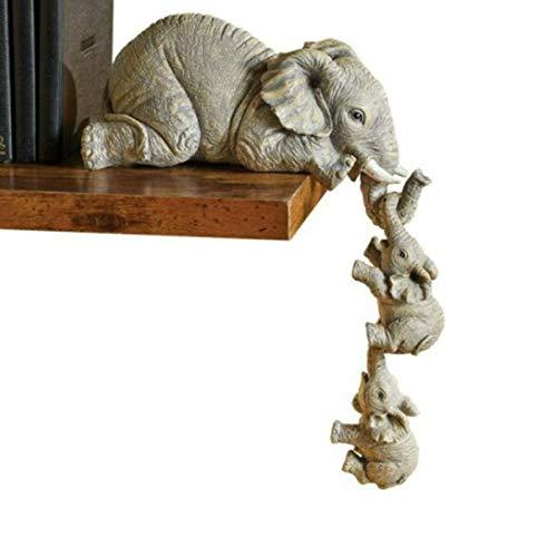 Figuras De Elefante Cariñosas, Estatua De Adorno Colgante para Madre Y Dos Bebés, Escultura De Resina Artesanal De Elefante para Decoración De Jardín
