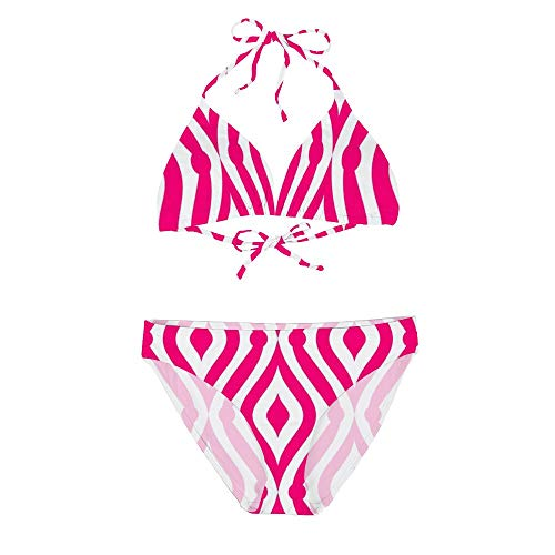 Women's Sexy Bikini Set Two Piece Swimsuits, Pink Teardrop Custom White Background, String Padded Swimwear