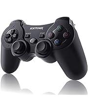 ECHTPower Wireless Controller voor PS3, Wireless PC Bluetooth Controller met Double Shock, 6 assen gyrosco en oplaadbare accu, draadloos gaminig Gamepad Joystick voor Windows pc Playstation 3