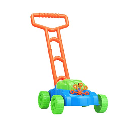 Transser Bubble Mower, Electronic Walker Bubble Blower Machine Lawn Games Outdoor Push Toys Best Gift for Kids Toddlers Outdoor, Battery Operated (Colorful)
