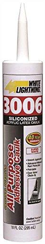 White Lightning 01010 3006 Siliconized Acrylic Latex All Purpose Caulk, 10 oz Cartridge, Almond