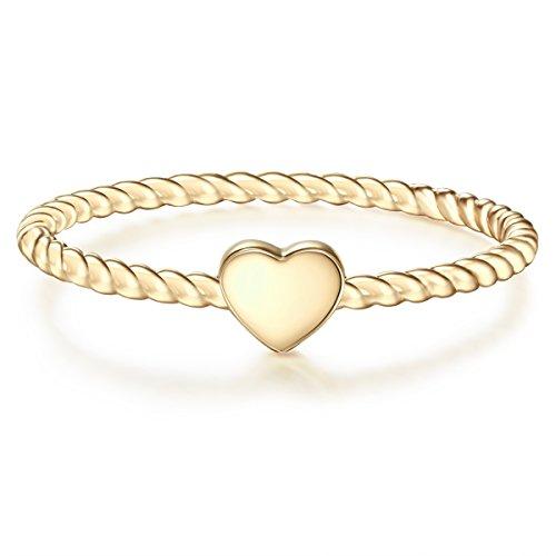 Glanzstücke München Damen-Ring Herz Sterling Silber gelbvergoldet - Damen-Schmuck Freundschafts-Ringe dünner Steck-Ring, Gold, Gr. 52 (16.6)