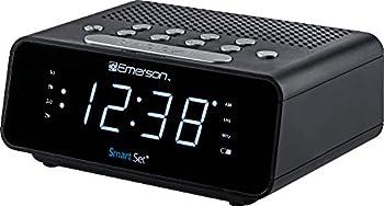 "Emerson SmartSet Alarm Clock Radio with AM/FM Radio Dimmer Sleep Time and .9"" White LED Display ER100101"