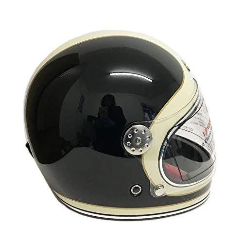 Viper F656 Fiberglas Vollgesichtsmotorrad Retro Klassisch Helm Schwarz und Cremeweiß Fahrradschutzausrüstung (L (59-60 CM))