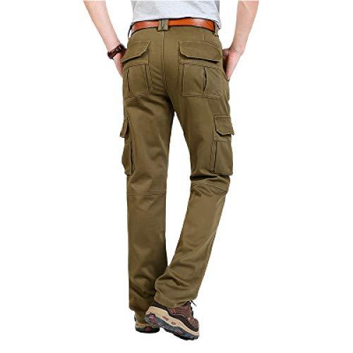 Pantalones Cargo Multibolsillos para Hombre, Moda Militar al Aire Libre, Trabajo de Combate, Pantalones Rectos cálidos Gruesos de Color sólido, Todos los tamaños de Cintura 42