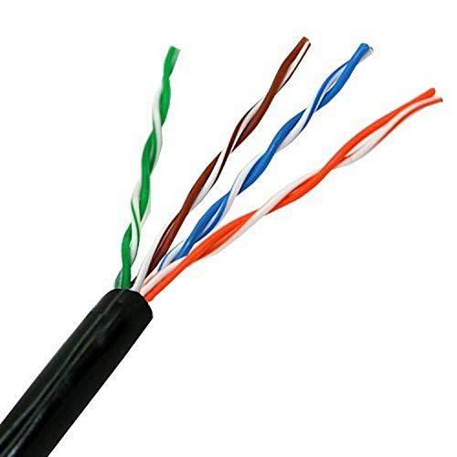 AISENS A133-0213 - Cable de Red Exterior Impermeable RJ45 (Rígido, Bobina de 305 m, Resistente a los Rayos Ultravioleta) Color Negro