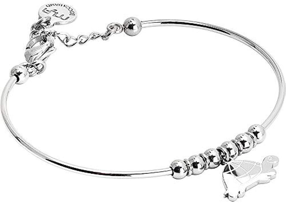 Boccadamo, bracciale per donna,in acciaio  rodiato con charm centrale raffigurante una tartaruga Sa/Br27