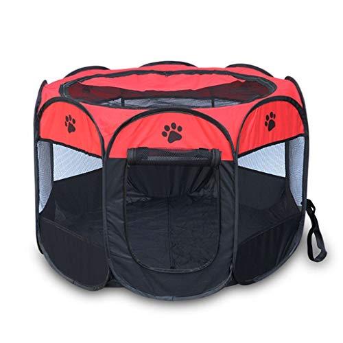 MZP Welpenauslauf Tierlaufstall Haustier Playpen Haustier-Zelt Laufgehege Für Haustiere Hundekisten & Zwinger Für Hunde, Katzen, Hasen & Kleintiere (Color : Rose Red+Black, Size : M 90X58CM)