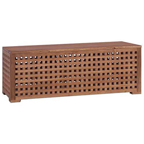 vidaXL Teak Massiv Box für Seil Aufbewahrungsbox Holzkiste Holztruhe Holzbox Truhe Bank Holzbank Sitzbank Truhenbank Aufbewahrungstruhe 110x40x40cm