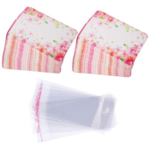 Earring Cards Set, 100 Pcs Paper Earring Display Cards with 100 Pcs Self-Seal Bags, Fashion Colorful Card Holder Organizer Tags DIY Handmade Packing Cards for Earring Stud Necklace (Pink Flower)