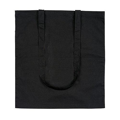 eBuyGB - Bolsa de lona de algodón para compras (10 unidades, 42 cm), Negro (Negro) - 1206003-10a