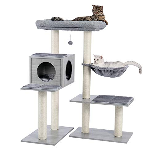 Made4Pets 5 Levels Modern Cat Tree, All-in-One Cat Tower with 7 Sisal Scratching Posts, Deep Hammock and Extra-Large Top Perch