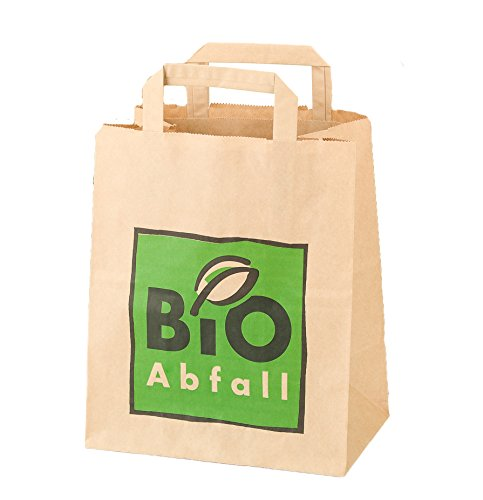8 Lt. BIOMAT® kompostierbare Papiertüten (5 x 20 Stk. Papierbeutel, mit Henkel)