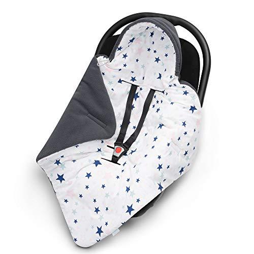 EliMeli EINSCHLAGDECKE für Babyschale - Warme Baby Decke für Autositz und Kinderwagen mit Füllung, Ideal als Babyhörnchen Kuscheldecke Kinderwagedecke universal z.B. Maxi Cosi (Grau - Sterne)