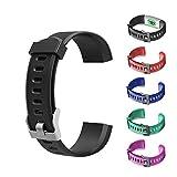AGZHU Cinturino di ricambio per smartwatch ID115Plus HR Nero Taglia unica