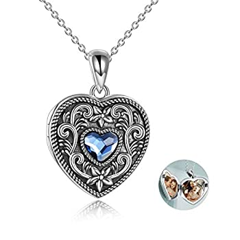 Heart Locket Necklace That Holds Pictures Vintage Locket Necklace Sterling Silver Heart Photo Necklace for Women Jewelry for Girlfriend Gift for Sister