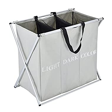 JEFEE Folding 3 Section Laundry Hamper Easily Transport Laundry Separator Hamper for Washing Storage,L25.2 x W15.2 x H22,Grey