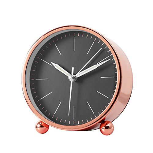 XZJT 2018 Gold Nordic Minimalist Art Mute Alarm Clock Bedside Clock Metal Creative Clock Clock Fashion Bedroom Modern Personality Desk Clock -H11cm Rose Gold