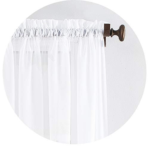 Megachest Woven Voile Slot Top Curtain 2 Panels (pure white, 79' wideX72 drop(W200cmXH183cm))