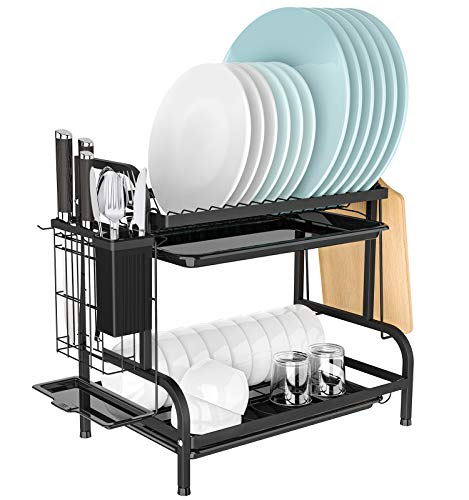 Dish Drying Rack, YASONIC 2-Tier Dish Drainer with Trays,...