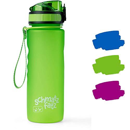 schmatzfatz auslaufsichere Sport Trinkflasche Kinder, BPA frei, 500ml, Fruchteinsatz, 1-klick Verschluss, Kinder Trinkflasche für Schule Kindergarten (Grün)