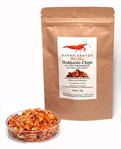 GARNELEN4YOU® Hokkaido Chips, 20 g getrockneter Kürbis, entspannte Fütterung mit hochwertigem Futter für Aquarienbewohner wie Garnelen, Krebse und Schnecken, 1x 20g
