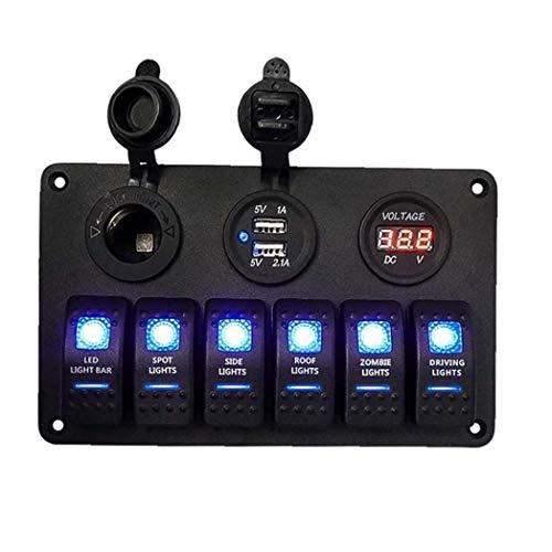 Canjerusof Rocker Switch Panel voltímetro USB Display Iluminación Digital LED Etiquetada Interruptores de instalación rápida para vehículos Marinos