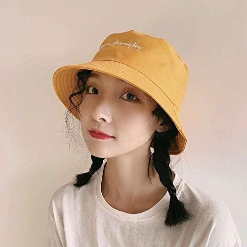 wtnhz Sombrero Femenino de Verano Sombrero de Pescador Estudiante de Moda Coreana Bordado de Sombra Salvaje japonés Primavera y otoño excursión Ocio Cuenca Sombrero