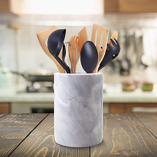 Homeries Marble Kitchen Utensil Holder | Eye-Catching Kitchen Counter Organizers and Storage Helps Keep Your Household Tidy | Caddy Makes Excellent Vintage Farmhouse Home Kitchen Décor