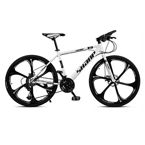 GOLDGOD 26 Zoll Falten Mountainbike, MTB Fahrrad Mit Doppelscheibenbremse Und Verstellbarer Sitz Hardtail Mountain Bike Kohlenstoffreicher Stahl Rahmen,Weiß,27 Speed