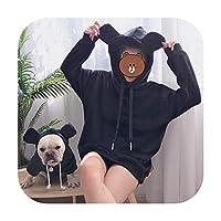 人とペットのための新しい親子フレンチブルドッグフード付き肥厚猫セーター小さな大きな犬冬暖かい服-黒-XXL